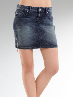 Makayla Stretch Rocker Denim Skirt