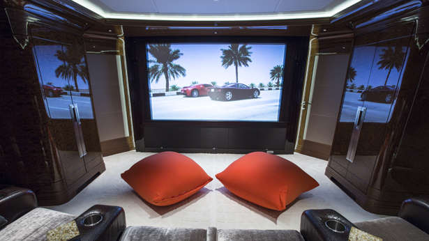 Flat-screen televisions and built-in audio systems