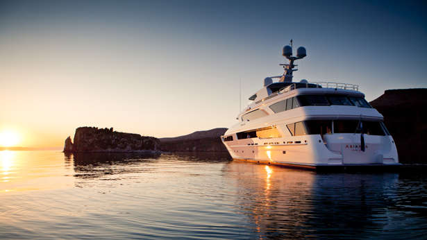 A Superyacht at sunset