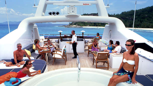 One of the pleasures of a charter yacht is the ability to entertain in grand style