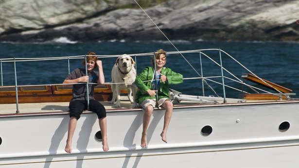 Children on a yacht