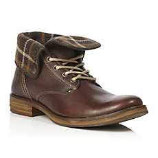 CORDUROY - Fold Over Top Plaid Detail Boot