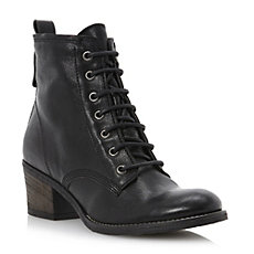 PEETONS - Lace Up Heeled Leather Ankle Boot