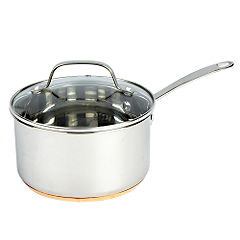 Different by Design Copper Bottom Stainless Steel Saucepan with Lid 18cm