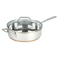 Different by Design Copper Bottom Stainless Steel Saute Pan with Lid 24cm