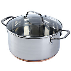 Different by Design Copper Bottom Stainless Steel Stock Pot with Lid