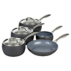 Russell Hobbs Marco Pierre White Hard Adonised Grey Cookware 5 Piece Set