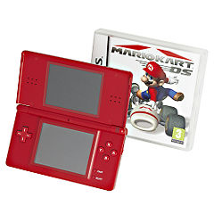 Nintendo DS Lite Handheld Console and Mario Kart Bundle Red