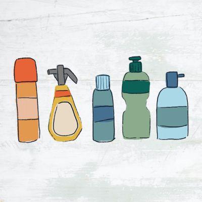 illustration of plastic bottles