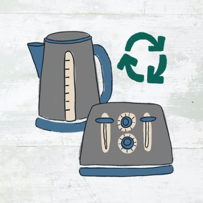 illustration featuring a kettle and a toaster