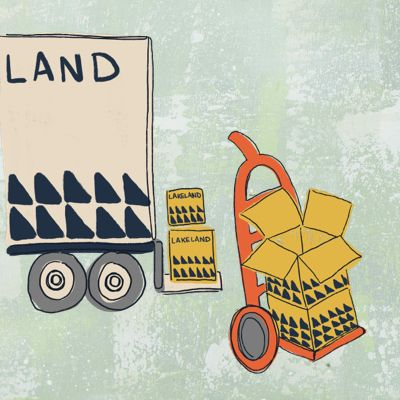 illustratiuon of a lorry and cardboard boxes