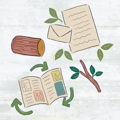 illustration featuring paper and wood