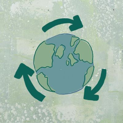 illustration of planet earth with recycling arrows around